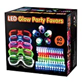 BATTOP 60 Pack LED Light Up Toys Party Favors Bulk Glow in the Dark Party Supplies for Adults Kids Neon Party School Event With 50 Finger Lights,5 Jelly Rings,5 Flashing Glasses BATTOP