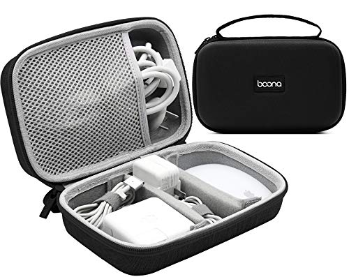 BOONA Laptop Charger Hard Case with Shockproof Waterproof EVA Protection Travel Organizer Bag Compatible for Power Adapter, Magic Mouse, Magsafe Power Adapter, Magnetic Charging Cable - Large, Black