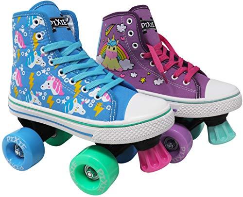 Lenexa Roller Skates for Girls - Pixie Unicorn Kids Quad Roller Skate - Indoor, Outdoor, Derby Children's Skate - Rollerskates Made for Kids - High Top Sneaker Style - for Beginner (Sky Blue, 1)
