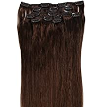 Grammy 22 Inch 7pcs Remy Clips in Human Hair Extensions 80g with Clips for Highlight (22inch 80g, #4 Chocolate Brown)