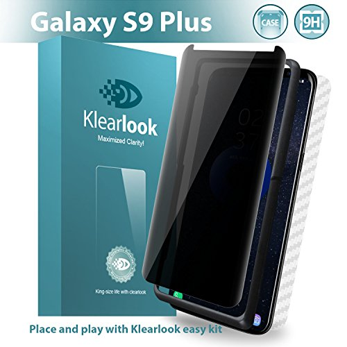 Galaxy S9 Plus Privacy Screen Protector Klearlook Privacy Defender Anti Spy Tempered Glass Protector Includes [Back Fiber Protector,Install kit] Anti Peeking Screen Protector for Galaxy S9+