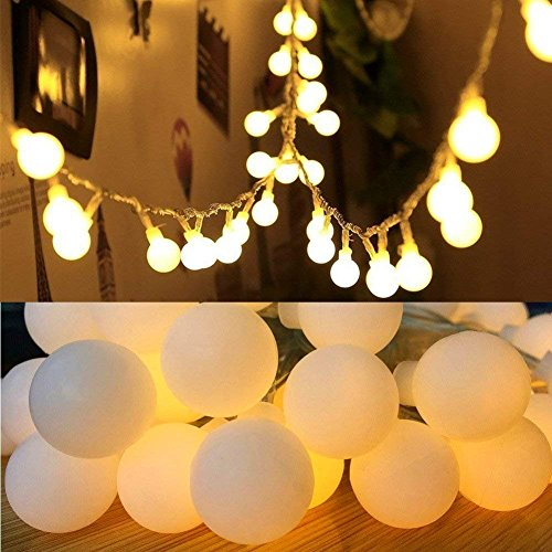 16 Feet 50 LED Globe Fairy Lights, Battery Operated Globe String Lights Starry Lights for Home Party Birthday Garden Festival Wedding Xmas Indoor Outdoor Use by FANSIR(Warm White) (Globe Fairy Lights) (Lights Operated Hanging Battery)