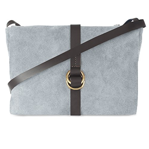 Ann Tarry Essential Genuine Suede Leather Shoulder Crossbody Bag Made in Italy (Gray)