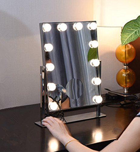 Professional Hollywood Large LED Makeup Mirror with 3× Magnifier and Clock 12 Big Bulbs Vanity Mirror White/Yellow Lights Swap Touch Screen Adjustbale Brightness (Silver)