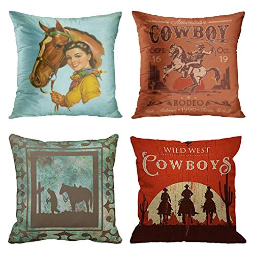 Emvency Set of 4 Throw Pillow Covers Retro Vintage Horse Western Cowboy Cow Girl Pet Cute Rodeo Decorative Pillow Cases Home Decor Square 18x18 Inches Pillowcases ()