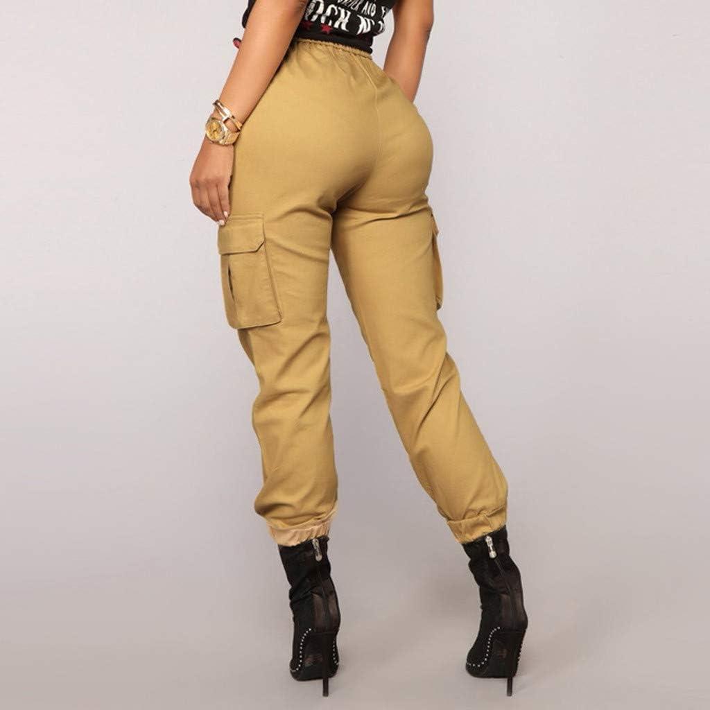 Weant Damen Cargo Hosen High Waist Seitentaschen Locker Schlaghose Hip Hop Jogger Street Hose Sweatshose Teenager M/ädchen Sporthose Capris Jogger Pants Boyfriend Jogginghose Jeans
