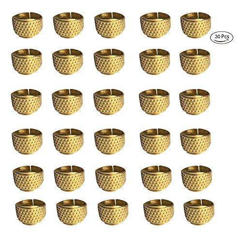 LGEGE 30 PCs Gold Toned Vintage DIY Crafts Metal Sewing Thimbles Finger Thimble Protector Shield, Ring Shape Thimbles Protector.