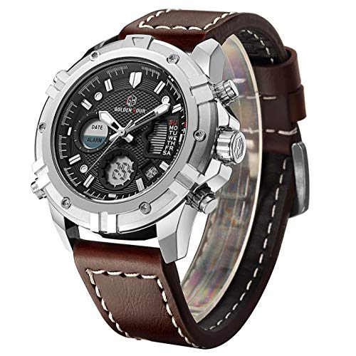 Fashion Luxury Brand Men Waterproof Digital Analog Military Sports Watches Men's Quartz Brown Leather Wrist Watch