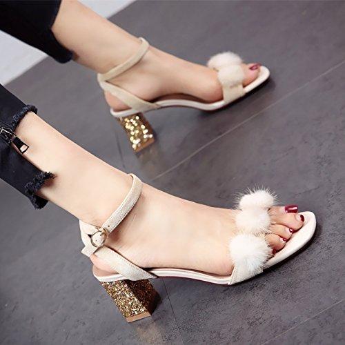 YMFIE Diamantes de Verano Zapatos Talones Tobillos Dedos Sandalias señoras Moda Elegancia Parte Tacones Altos. b