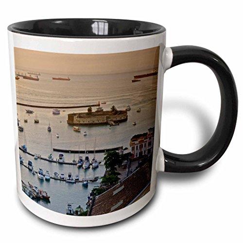 3dRose KIKE CALVO Brazil Collection - Mercado Modelo and a view of Salvador de Bahia Harbor. - 15oz Two-Tone Black Mug (mug_216134_9)