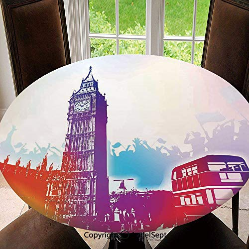 Stain Resistant Elastic Edged Table Cloth Historical Big Ben and Bus Great Bell Clock Tower UK Europe Street Landmark Perfect for Home or Restaurants Table Protection , Round 55