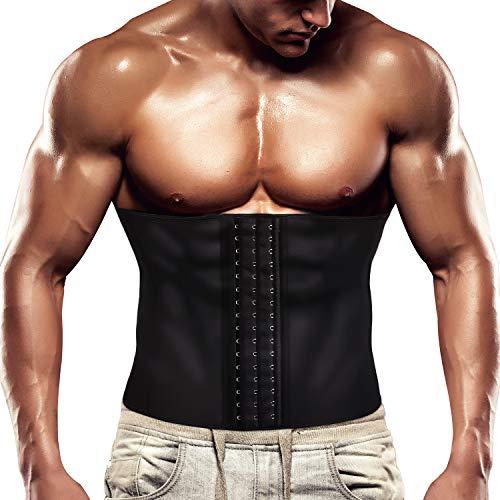 Wonderience Men Waist Trainer Belt Slimming Body Shaper Sweat Weight Loss Corset (Black, S)