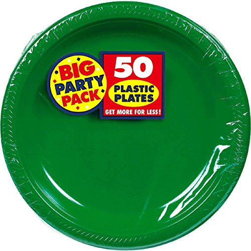 Amscan Reusable Round Festive Green Plastic 10'' Pack 50 Party Supplies , 300 Pieces