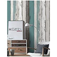 "HaokHome H006 Wood Panel Peel and Stick Wallpaper 23.6"" x 19.7ft Blue/Black/Off White Self Adhesive Contact Wall Decoration"