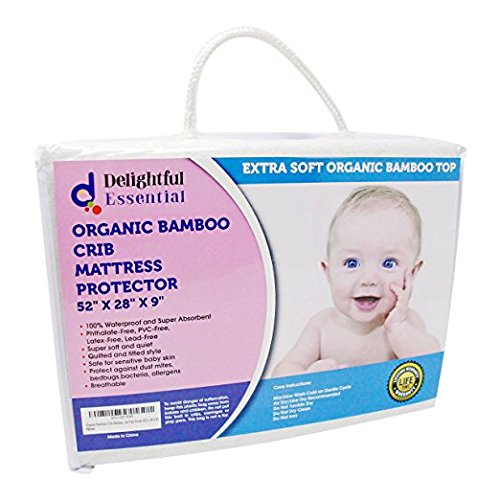 Organic Bamboo Waterproof Crib Mattress Protector Pad Cover (52 x 28 X 9) by Delightful Essential
