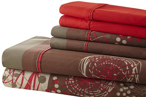 Spirit Linen Hotel 5Th Ave Palazzo Home 6-Piece Luxurious Printed Sheet Set, King, Red/Brown