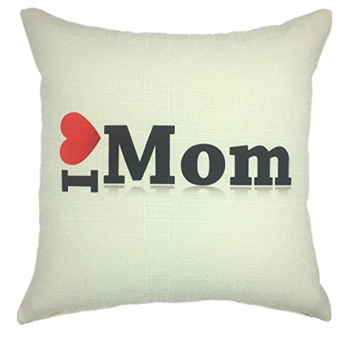 YOUR SMILE Mother's Day Cotton Linen Square Decorative Throw Pillow Case Cushion Cover 18x18 Inch(45CM45CM) (I love mom) (Mattress Euro Top Super)