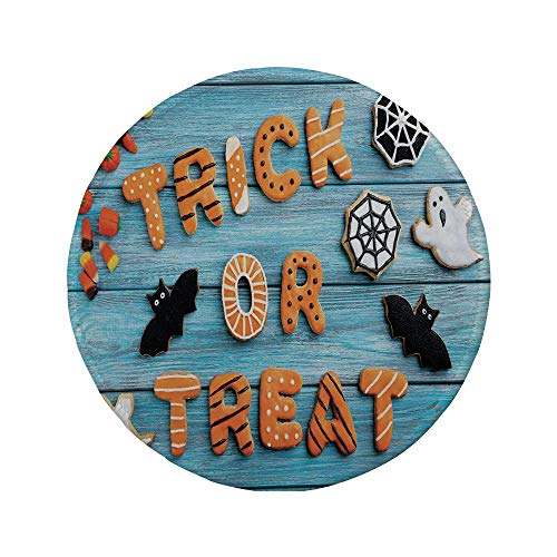 (Non-Slip Rubber Round Mouse Pad,Halloween,Fresh Trick or Treat Gingerbread Cookies on Blue Wooden Table Spider Web Ghost)