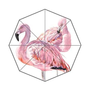Paraguas con Estampado Flipped de Flamenco y Acuarela, Impresiones Artísticas Personalizadas