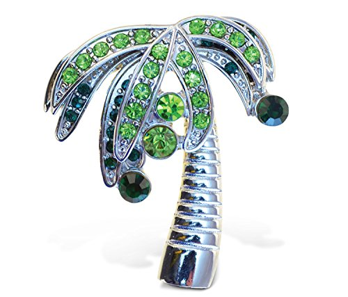 Palm Tree Refrigerator Magnet - Puzzled Sparklin Palm Tree Refrigerator Sparkling Magnets with Crystals, 5, Green, silver
