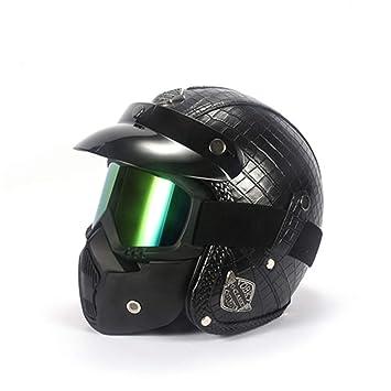 LLCP Casco De Moto Retro Hecho A Mano, Harley-Davidson Motorista Casco, Casco