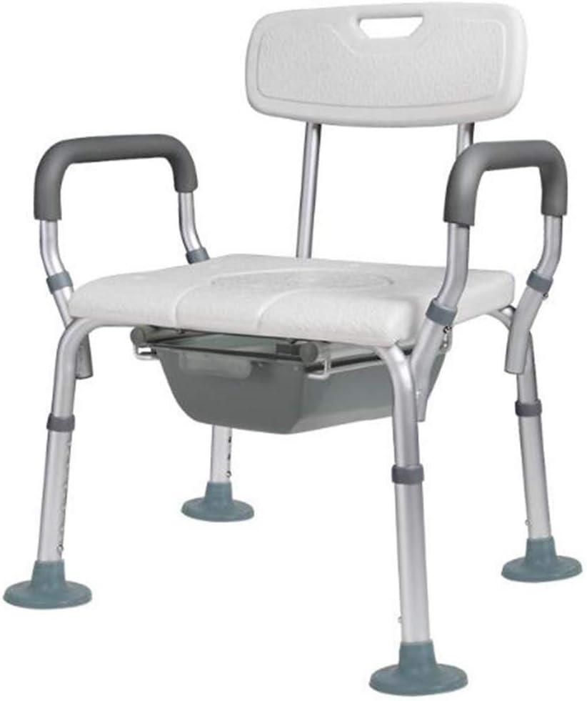 Wolong Banco de Ducha Ajustable, Taburete médico portátil con Respaldo Regulable y apoyabrazos para la Movilidad,B