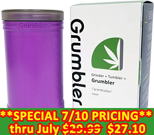 (MyGrumbler.com Grumbler - Medical Herb and Accessory Storage Case w/Detachable Grinder, Pre-Roll Protector, Grinds Funnel. Smell Proof, Food Safe, Child Resistant (Granddaddy Purple))
