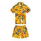 Boy Hawaiian Shirt and Short Set Cabana Set in Yellow Turtle
