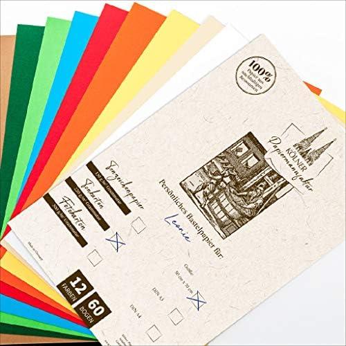 Tonkarton 220gr aus Manufaktur - verschiedene Größen, 60 Blatt, 12 Farben sortiert, plastikfrei verpackt - hochwertiges Bastelpapierset für kreative Köpfe (DIN A4)