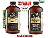 Flax Seed Oil-Pack of 2- Certified Organic Pure & Top Quality Glass Bottle Cold Pressed No preservatives & Artificial color- Glass Bottle 16oz MADE LOCAL IN NY USA BY SweetSunnah