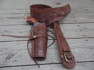 """Bull Creek Leather Western Gun Belt Holster Rig - Brown - 42""""- 357/38 Caliber with 6"""" Drop Down Holster"""