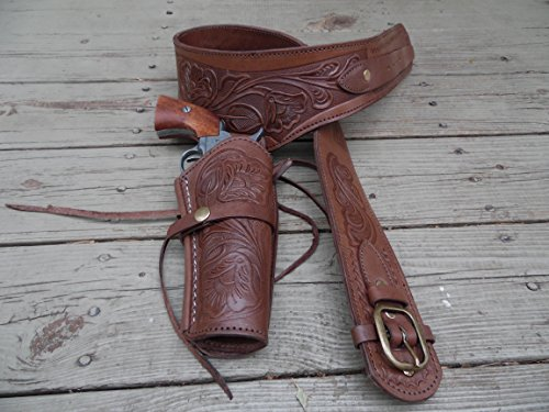 Bull Creek Leather Western Gun Belt Holster Rig - Brown - 36
