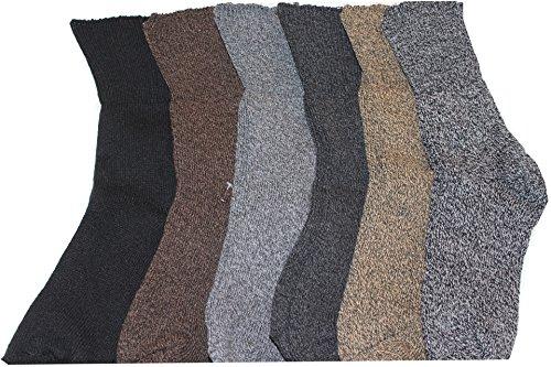 6 pairs mens wool blend non elastic thermal socks.