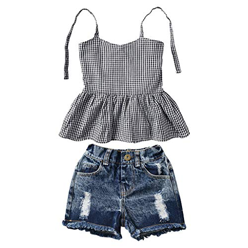 - Newborn Kids Baby Girl Outfit Ruffle Plaid Top Denim Short Pant Strap Sleeveless Clothes Ripped Jeans Elastic Sets (12-18 Months)