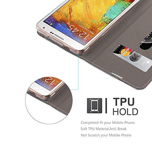 Cadorabo - Funda Estilo Book para Samsung Galaxy NOTE 3 de Diseño Tela / Cuero Arificial con Tarjetero, Función de Soporte y Cierre Magnético Invisible