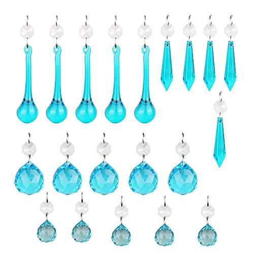 H&D 20PCS Blue Glass Crystal Teardrop Chandelier Prisms Parts Hanging Glass Crystal Pendants Beads Set