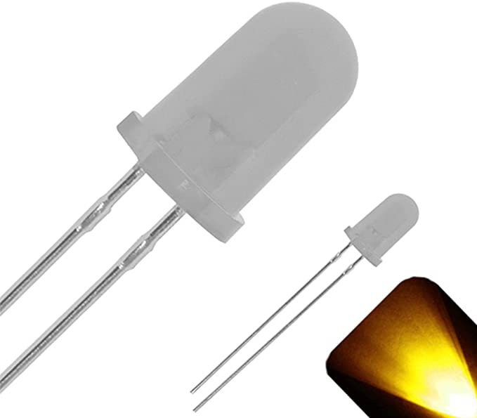 5 x LED 5mm Yellow Gold Diffused Ultra Bright Flat Top Wide Angle LEDs Light