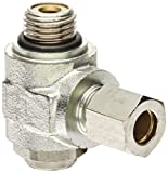 Legris 7160 12 17 Brass Air Flow Control Valve, 90 Degree Elbow, Meter-Out, Slotted Screw, 12 mm Tube OD x 3/8 BSPP Male