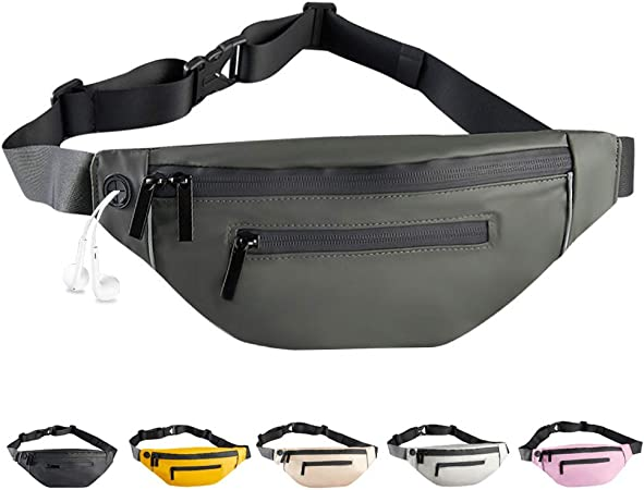 Enicuter Fanny Pack for Women Men Fashionable - PU Waterproof Waist Bag with Adjustable Belt Headphone Jack Double Zipper Design for Running Hiking Traveling Walking