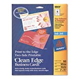 Print-To-The-Edge 2-Sided Clean Edge Business Card, Inkjet, 2x3 1/2, Wht, 160/pk