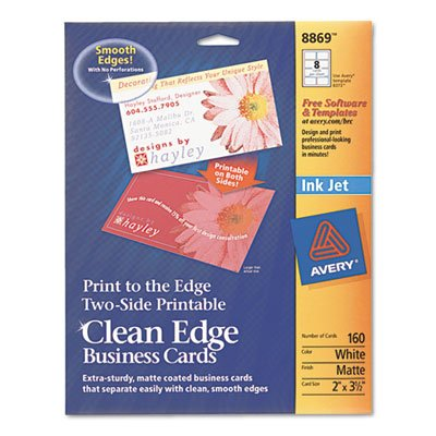 Print-To-The-Edge 2-Sided Clean Edge Business Card, Inkjet, 2x3 1/2, Wht, 160/pk by Avery