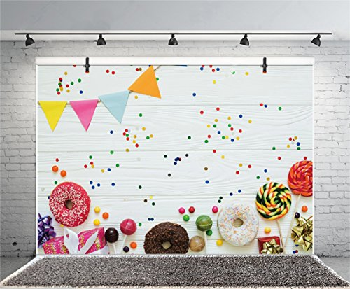 Leyiyi 7x5ft Photography Background Happy Birthday Backdrop Gifts Ribbon Donuts Lollipops Chocolate Sweet Banner Vintage Wooden Board Dessert Table Baby Shower Photo Portrait Vinyl Studio Prop