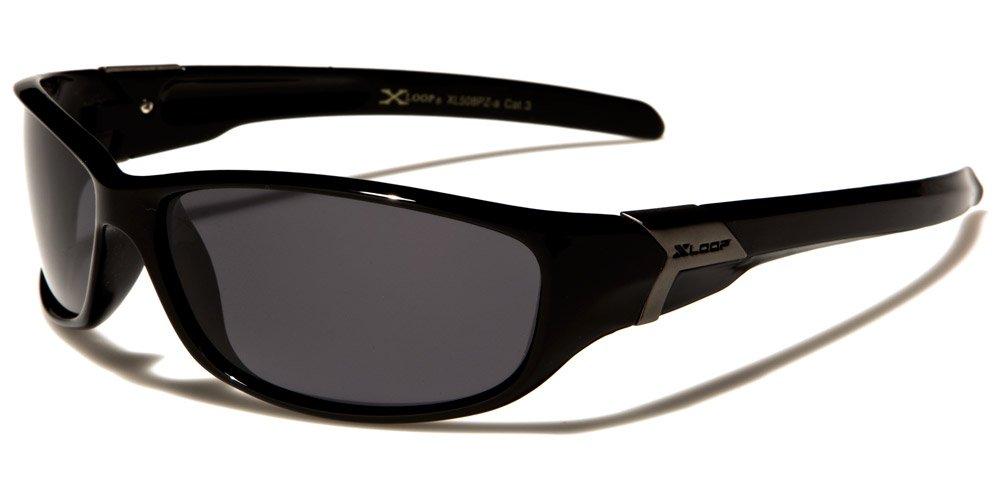 Gafas de sol depostivas de X-Loop, polarizadas, talla única para adultos, protección UV400, para hacer deportes como ciclismo, esquí, snowboard, pesca o correr, incluye estuche, Deluxe Black