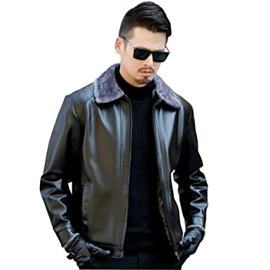 8c0b10049 AK Beauty Men's Fur Collar Winter Leather Jacket Men Winter ...