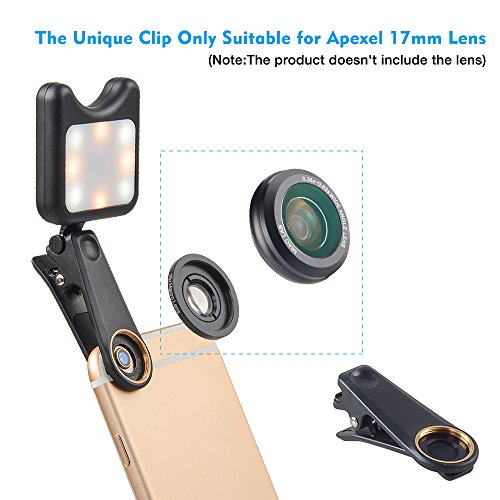 Apexel Clip On Mini Multi-function Selfie Light[Portable Dimmable Clip Lights]Selfie LED Camera Light with 9 Lighting Modes for iPhone Samsung Sony and other Smart Phones and Tabletes,Black by Apexel (Image #4)