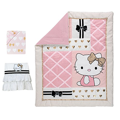 - Lambs & Ivy Hello Kitty Hearts 3-Piece Crib Bedding Set, Pink/Gold