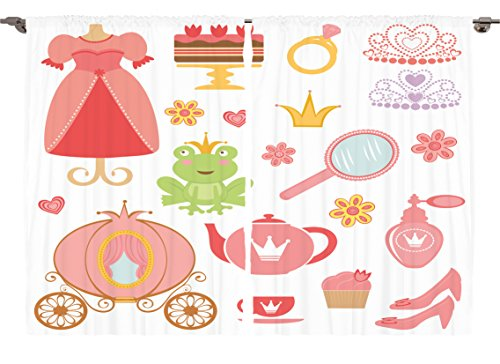 Ambesonne Girls Kids Baby Room Decor Collection, Mirror Teapot Tea Party Princess Frog Crown Fairy Princess Cupcake Carriage, Window Treatments for Kids Bedroom Curtain 2 Panels Set, 108X63 Inches