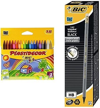 Bic - Pack 18 ceras de colores Plastidecor + 12 unidades lápiz de grafito Bic Evolution: Amazon.es: Oficina y papelería