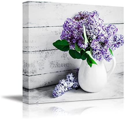 Elegant Lilac Light Purple and Pink Flowers in White China Bottle