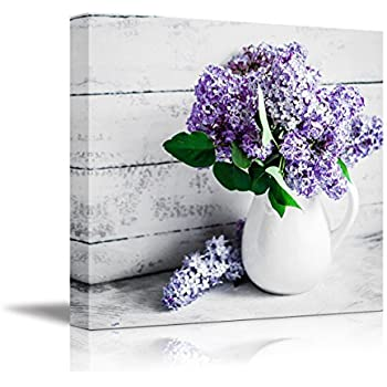 wall26 Canvas Wall Art - Elegant Lilac Light Purple and Pink Flowers in White China Bottle Mordern Home Decoration 16
